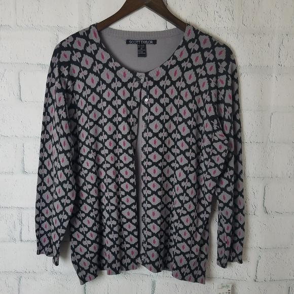 Scott Taylor Sweaters - Scott Taylor | Gray, Black, and Pink Cardigan